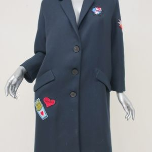 Zara Patch Coat Navy Twill Size Medium